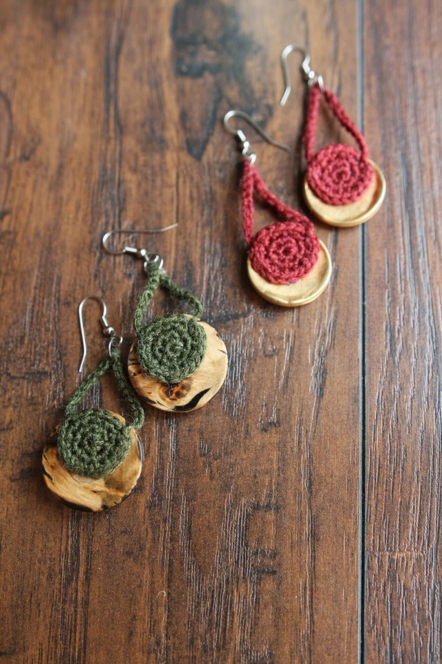 Crocheted Button Earrings